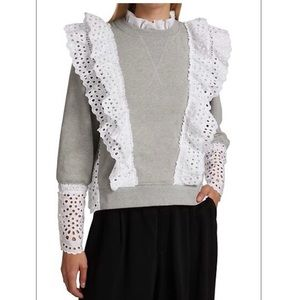 SEA Eyelet Lace-Trimmed Sweater M